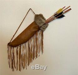 Antique Vintage Fourrure Amérindien Doublé Cuir Carquois Et Flèches