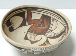 Antique Vintage Grand Perroquet Dsgn Hopi Pueblo Indian Pot Food Bowl Pottery