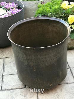 Antique Vintage Grand Planteur En Laiton Log Bin Pot Jardinaire Main Battue Rivetée