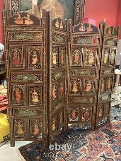 Antique Vintage Hand Painted Indian Rajasthani 4 Écran De Panneau