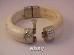 Antique Vintage India Cow Bone Sterling Silver Hinged Pull Pin Bangle Bracelet