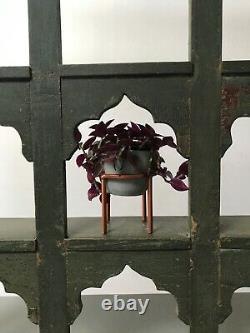 Antique Vintage Indian Furniture. 9 Mughal Arched Display Unit. Khaki Vert