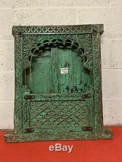 Antique Vintage Indian Sculpté Jharokha Style Petite Fenêtre En Bois