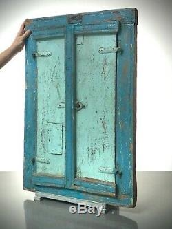 Antique Vintage Indian Shuttered Fenêtre Miroir. Ancien. Turquoise, Bleu Bébé