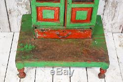 Antique Vintage Indian Temple En Bois Armoire Décor Cabinet