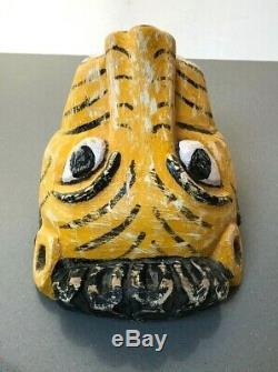 Antique Vintage Indian Tiger Mask Mela. Utilisé Dans Reconstitutions De Poèmes Épiques