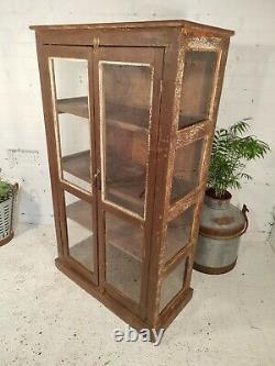 Antique Vintage Indien Solide En Bois Émaillé Shop Display Salle De Bain Armoire De Cuisine