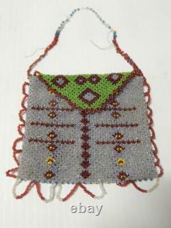 Antique Vintage Mesquakie (sac/fox) Prarie Indian Net Beaded Pouch C1890-s