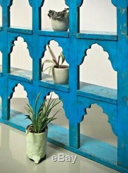 Antique Vintage Meubles Indiens. Grand Écran / Unité De Rayonnage. Bleu Saphir