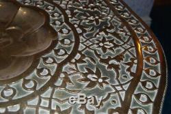 Antique Vintage Morrocan Arabe Islamique / Moyen-orient Brass Top Table Pliante