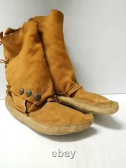 Antique Vintage Navajo Indien Salut Haut Mocassins Nice Early Conchos