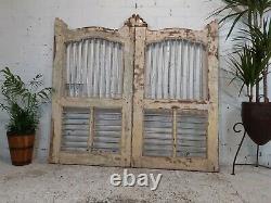 Antique Vintage Paire Reclaimed Indian Wooden Jali Dog Garden Interior Gates Door