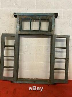 Antique Vintage Panneau De Verre Indien Fenêtre En Bois Avec Cadre