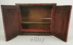 Antique Vintage Peint À La Main Tenture Indienne Two Door Cabinet