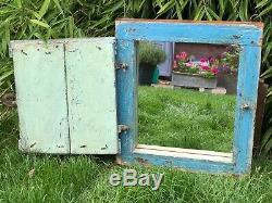 Antique Vintage Régénérés Indian Shuttered Fenêtre Mirror Eau De Nil Turquoise