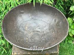 Antique Vintage Riveté Indian Fer Kadai Feu Bowl Jardin Planteur Diamètre 53cm