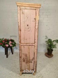 Antique Vintage Rose Indien Solide En Bois Émaillé Vitrine Armoire De Cuisine Garde-manger