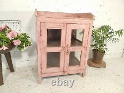 Antique Vintage Rose Indien Solide En Bois Émaillé Vitrine Cuisine Salle De Bain Cabinet