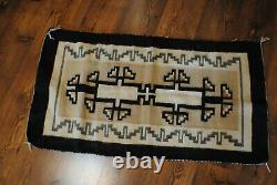 Antique Vintage Rug Native American Indian Blanket 46 Par 24 Pouces Navajo Art