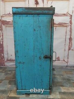 Antique Vintage Rustique Bleu En Bois Affichage Indien Salle De Bains Armoire Murale