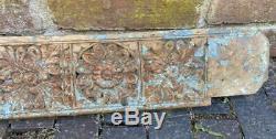 Antique Vintage Sculpture Sur Bois Décoratif Indien Architectural 148cm Longue