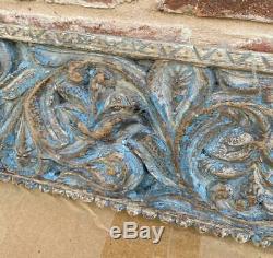 Antique Vintage Sculpture Sur Bois Ganesh Décoratif Indien Architectural