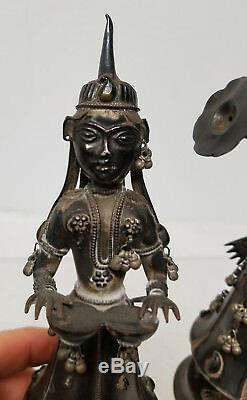 Antique Vintage Sterling Indien Argent Asian Danse Musiciens Chiffres