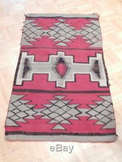 Antique / Vintage Tapis Indien Navajo Ganado Trading Post Surface De Frappe Dsgn