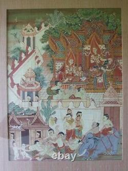 Antique Vintage Thai Asiatique Gouache Peinture Indienne Chinoise Thangka Bouddhist Int