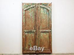 Antique Vintage Worn Peinture Porte En Bois Indien Mill-556 (7 Disponible)