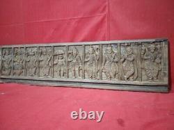 Antique Vishnu Dashavatar Panneau Mural Dieu Vintage Wood Statue Sculpture Hindou États-unis