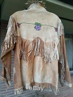 Antique Vtg En Cuir Et Perles Fringe Amérindien Veste Ouest