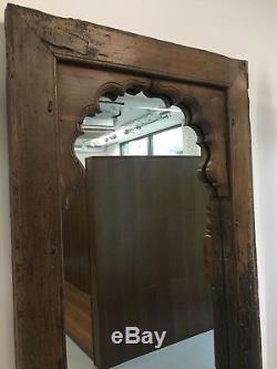 Antiquité / Cru En Bois Miroir Arqué Indien