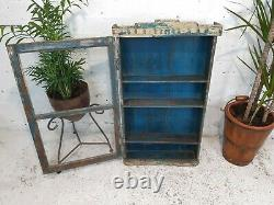 Armoire Antique De Cuisine De Salle De Bains De Mur D'affichage En Bois Bleu Indien Antique