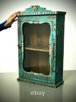 Armoire Indienne Antique De Cru. Art Déco, Exposition, Salle De Bains, Cuisine. Turquoise