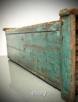 Armoire Indienne Antique De Cru. Art Déco. Grand Écran/salle De Bains. Sarcelle Turquoise