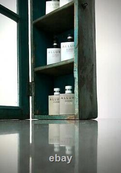 Armoire Indienne Antique Vintage, Art Déco. Longue, Grande Exposition/salle De Bains. Turquoise