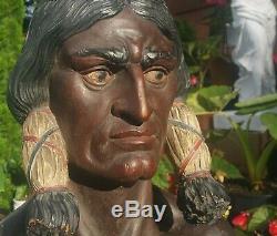 Assis Magasin De Cigares Bull Statue Indienne Vtg Tabac Antique Natif Américain Sioux