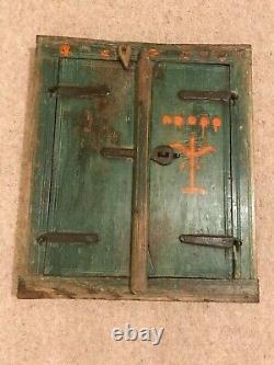 Authentique Indien Fermé Cadre De Fenêtre Miroir Teck Vert Détresse Vintage