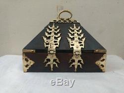 Bijoux Vintage Coin Treasure Box Antique Brass Dowry Kerala Inde Boîte En Bois