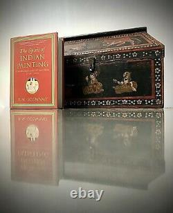 Boîte De Rangement De Teck Indienne Ancienne / Vintage. Rajput École Miniature De Peinture