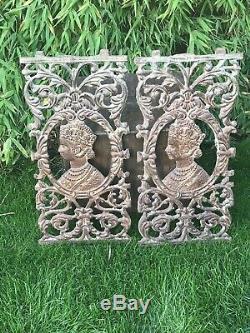 Cast Antique Fer Indien Balcon Banister Balustre Panneau Reine Victoria Vintage