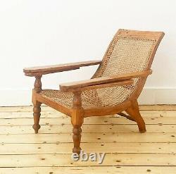 Chaise Ancienne De Salon De Plantation De Teck Indien Rattan Colonial Planter