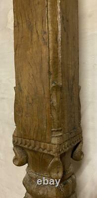Chandelle De Colonne De Colonne Indienne Antique Bois Massif Vintage Original 139cm