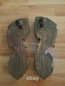 Chaussure Ancienne Paduka Sandales Indienne Main Sculpté Bois
