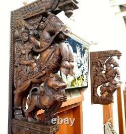 Cheval De Guerre Support Mural En Bois Corbel Paire Sculpture Statue Vintage Décor Maison