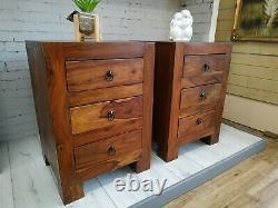 Coffre Vintage D'armoire De Chevet Des Tiroirs Jali Sheesham Wood Indian Bedside Table