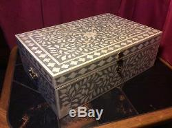 Coffre-fort Inlay Os Bijoux Vintage Antique Décoratifs En Bois Bureau 46 Par 31cm