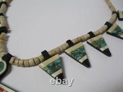 Collier Antique Vintage Et Pendentif Oiseau Arrowhead De Santa Domingo Indien