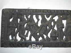 Cru Main Découpée Bois Indou Epic Wall Panel Suspendu Inde Rare 9 X 38